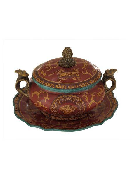 Sopera de porcelana. Sopera oval asas & bandeja 15cm con bronce -Palacz