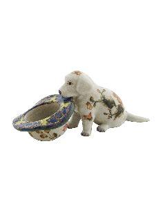 Perro de porcelana. Perro cachorro labrador con sombrero 14cm -Milex