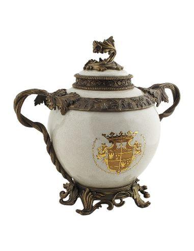 Vase couvert en porcelaine: Vase à couvercle 2 anses 33cm a/bronze -Infantas