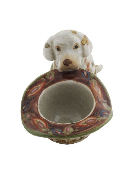 Perro de porcelana. Perro cachorro labrador con sombrero 14cm -Hiti