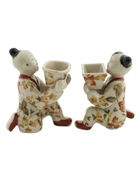 Niño en porcelana. Niños arrodillados pareja 13cm -Hiti