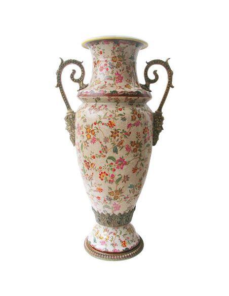 Vase en porcelaine: Vase 2 anses 92cm avec bronze -Paraiso