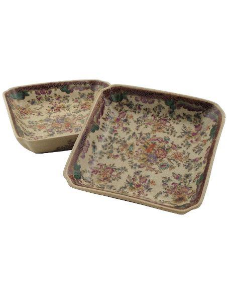 Vide-poche en porcelaine: Vide-poche carré 15cm set de 2 -Delicia