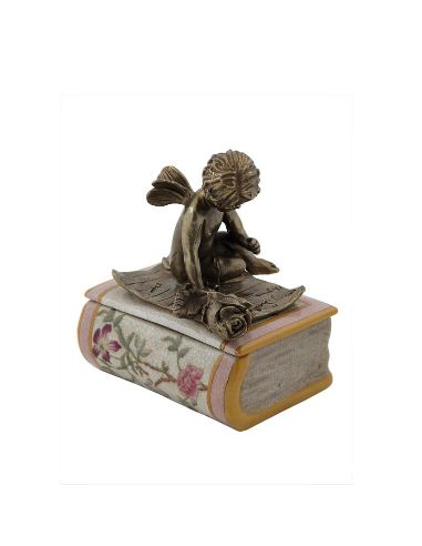 Caja de porcelana. Caja libro con ángel 14cm con bronce -Komachi