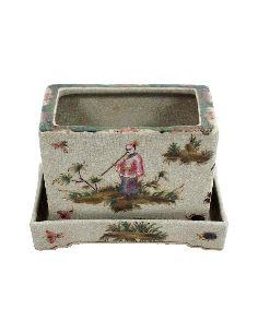 Cache-pot en porcelaine: Cache-pot rectangul. avec soucoupe 15cm -Confucio