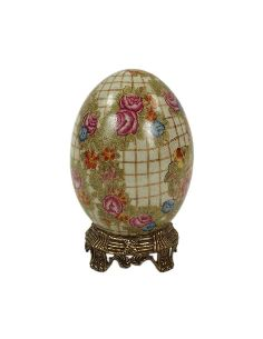Huevo de porcelana. Huevo 19cm con peana de bronce -Hiedra