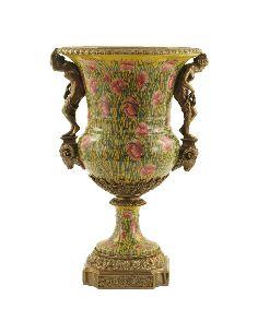 Vase en porcelaine: Coupe forme medicis a/femme 61cm a/bronze -Amapola