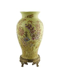 Vase en porcelaine: Vase queue de poisson 42cm avec bronze -Exotica