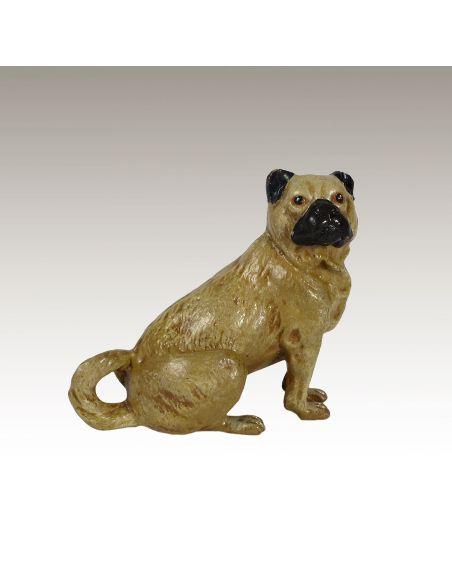 Escultura de bronce. Perro Carlin pintado estilo Viena
