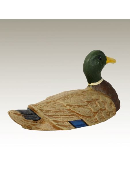 Sculpture en bronze: Canard Colvert peint