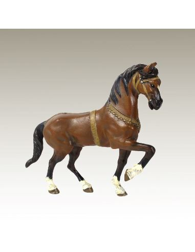 Sculpture en bronze: Cheval de parade peint