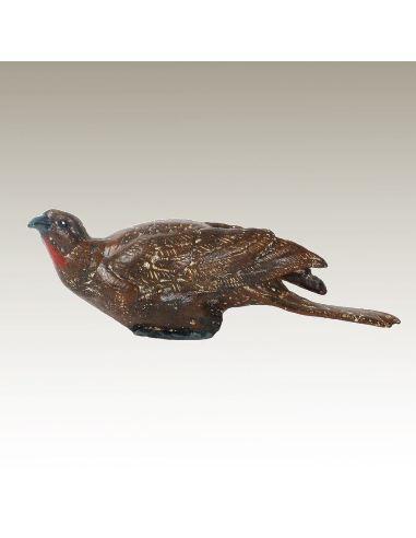 Escultura de bronce. Pájaro trópical (Guacharaca) pintado estilo Viena