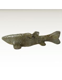 Sculpture en bronze: Poisson brochet peint