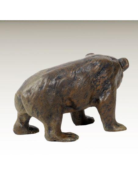 Sculpture en bronze: OURS peint