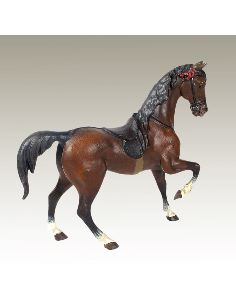 Sculpture en bronze: Cheval de course peint