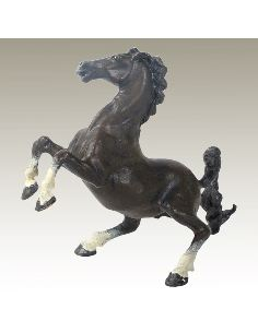 Sculpture en bronze: Cheval cabré peint