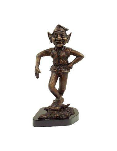 Sculpture en bronze: Lutin 30cm dansant sur socle marbre
