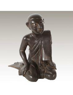 Sculpture en bronze: Moine agenouillé de la bienvenue 34cm
