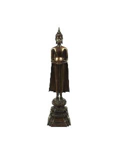 Sculpture en bronze: Buddha Sukhothaï avec le bol a offrande 47,5cm