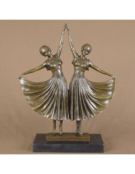 "Figura de Bronce Mujeres Art Decó ""The Sisters"""