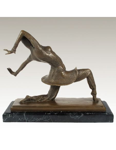 "Sculpture en bronze: Mujer danseuse Art déco ""Kamorna"" -Patine brune"