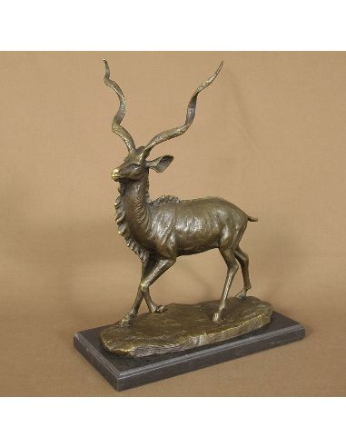 Sculpture en bronze: Antilope -Patine brune