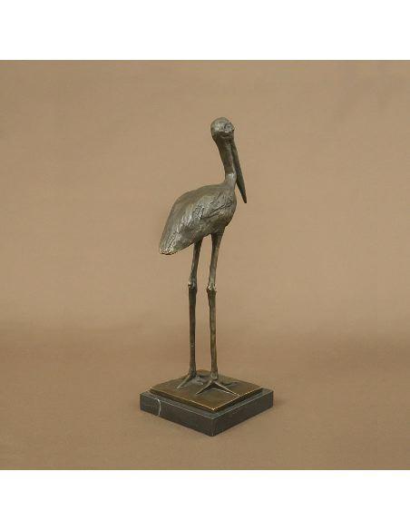 Sculpture en bronze: Marabout à l'affut
