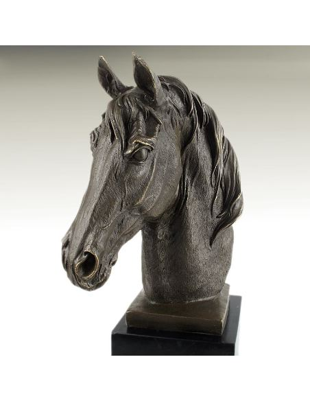 Sculpture en bronze: Tête de cheval -Patine brune