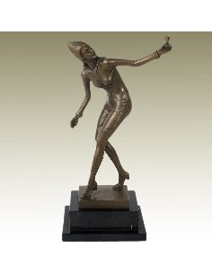 "Sculpture en bronze: Femme Art Decó ""Moth Girl"" -Patine brune"
