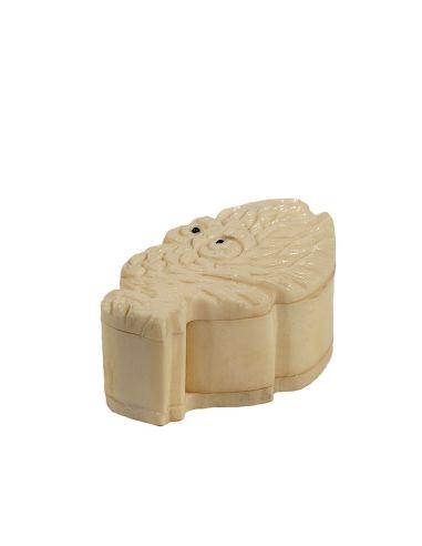 Sculpture sur os: Boîte - Décor chouette