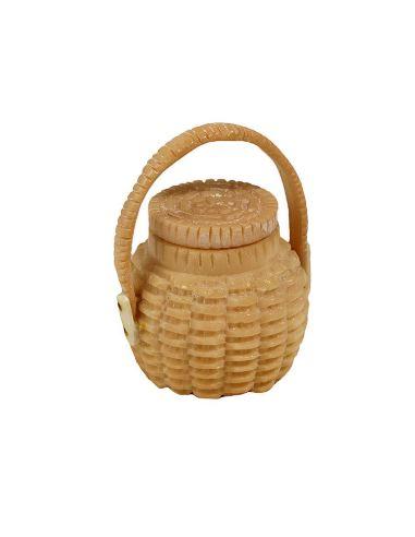 Cajita de Hueso. Caja cesta mimbre con asa