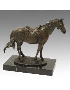 Sculpture en bronze: Cheval scellé -Patine brune