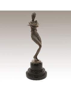 "Sculpture en bronze: Femme Art déco ""Danseuse Coy"" -Patine brune"