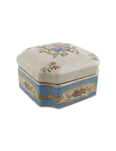 Caja de porcelana. Caja octogonal 13cm -Milady
