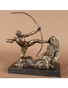 Sculpture en bronze: Hercule avec son arc