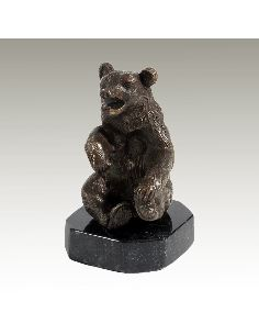 Sculpture en bronze: Ours assis sur socle -Patine brune