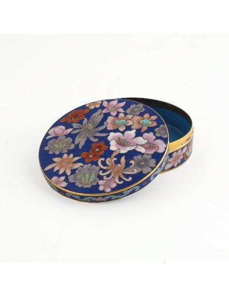 Esmalte tabicado Caja redonda baja azul oscuro -Milflores