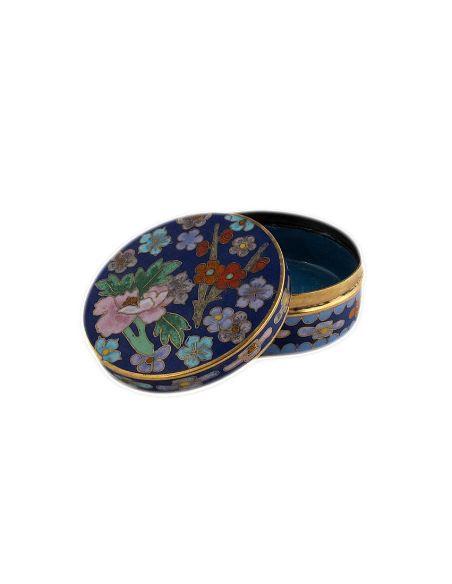 Esmalte tabicado Caja redonda baja -Azul oscuro