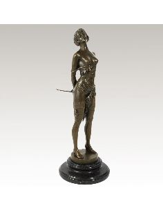 "Sculpture en bronze: Femme Art déco ""La cravache"" -Patine brune"