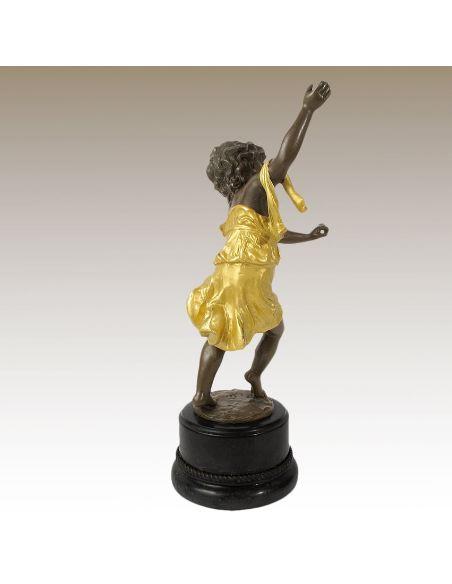 Figura de Bronce. Niño bailando -Dorado
