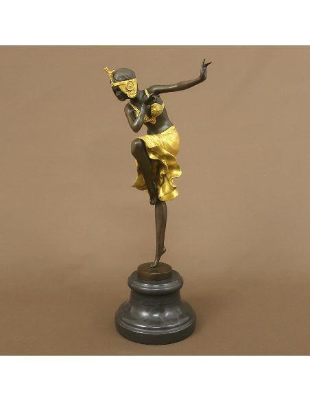 "Figura de Bronce. Mujer Art Decó ""Hindu Dancer"" -Dorado"