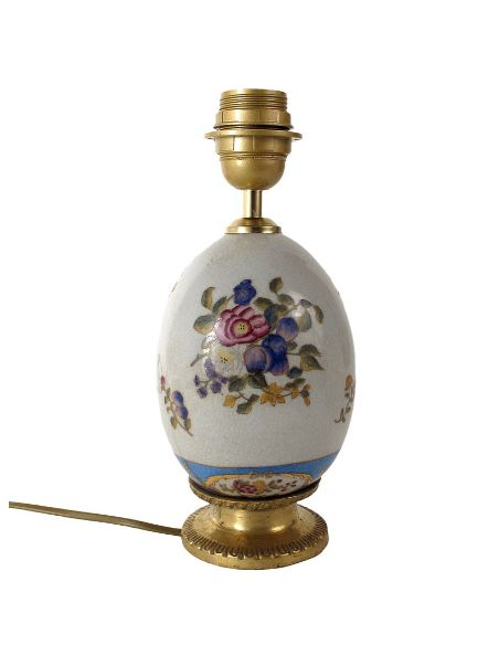 Pied de lampe en porcelaine: Pied de lampe 21cm oeuf avec bronze -Milady
