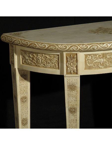 Mueble de Hueso. Consola media luna 95cm.