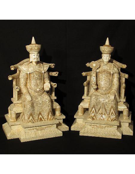 Figura de Hueso. Emperador & Emperatriz sentados 093cm