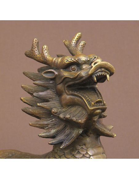 Sculpture en bronze: Dragons chinois en paire 030cm -Patine brune