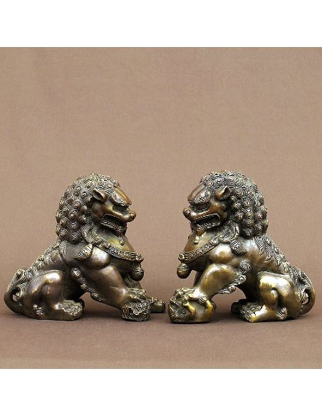 Sculpture en bronze: Chiens de Fo paire 21cm -Patine brune