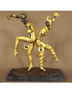 "Figura de Bronce. Danzarines Art Decó ""Russian Dancers"" -Dorado"
