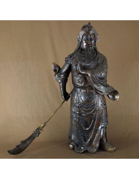 Figura de bronce. Guerrero de pie con lanza (Guang Yu) 077cm.-Oscura
