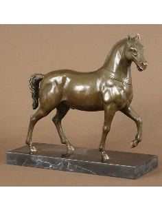 Sculpture en bronze: Cheval au trot -Patine brune
