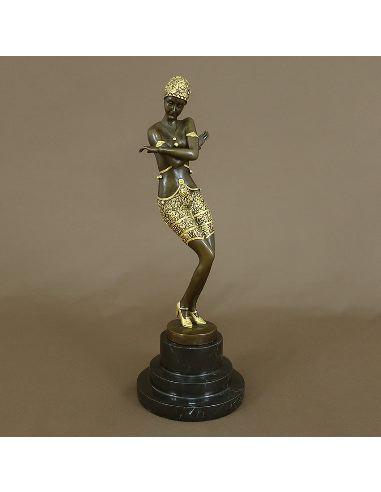 """Figura de Bronce. Mujer Art Decó """"Coy Dancer"""" -Dorado"""